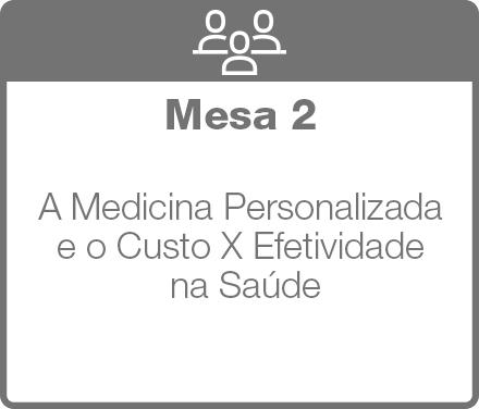 Mesa 2: A Medicina Personalizada e o Custo X Efetividade na Saúde